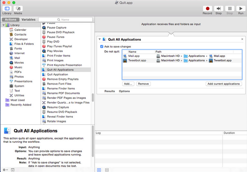 Automator - Quit All Running Apps with One Click