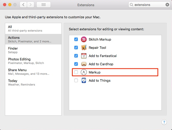 Mac: How to Enable Markup Extension in Supporting Apps
