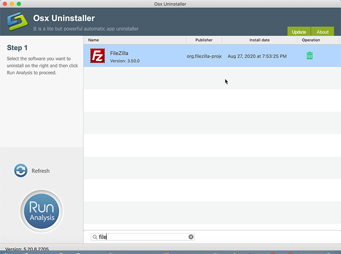 Uninstall FileZilla