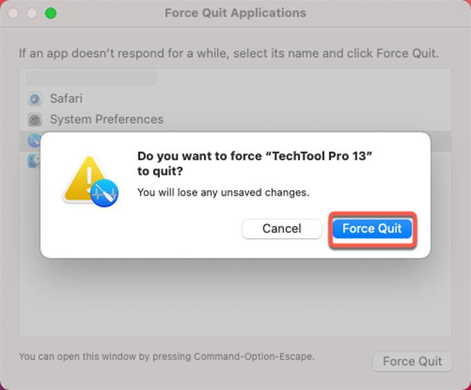 force quit Techtool Pro