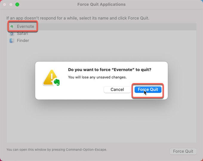 force quit Evernote